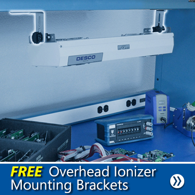 Mounting Brackets for Desco Overhead Ionizers allows for multiple mounting options